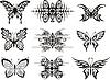 Set von symmetrischen Schmetterling Tattoos