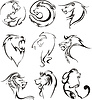 Stilisierte Löwenköpfen