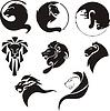 Stilisierte schwarze Löwen
