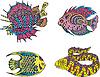 Estilizada pescado abigarrado | Ilustración vectorial