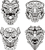Aztec Monster totem Masken