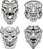 ID 3503038 | Aztec totem maski potworów | Klipart wektorowy | KLIPARTO