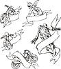 Motorrad-Vorlagen mit Bändern