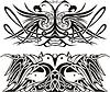 Stilisierte symmetrischen Vignetten mit Vögeln