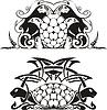 Stilisierte symmetrischen Vignette mit Schildkröten