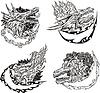 Dekorative Vorlagen mit Drachenköpfe | Stock Vektrografik