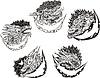 ID 3580379 | Dekorative Vorlagen mit Drachenköpfe | Stock Vektorgrafik | CLIPARTO
