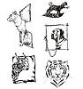 Sketches von Tieren - Hunde und wilde Katzen