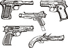Set of old pistols | Stock Vector Graphics