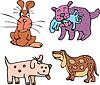 Set of cartoon curious dogs | 向量插图