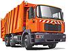 Orangefarbener Müllwagen