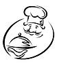 Vektor Cliparts: Chef mit Tablett