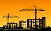 Векторный клипарт: Рабочие краны на строительной площадке