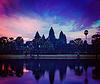 吴哥窟 - 日出著名的标志性建筑柬埔寨 | 免版税照片