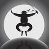 ninja über den vollen Mond Hintergrund
