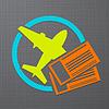 Symbol mit Flugzeug und Flugtickets