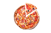 Tasty pizza with pepperoni and mushrooms with   Stock Foto
