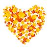 Herbst-Konzept Herz der Ahornblätter