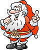 Ein Happy Santa Pointing Hand gezeichnet