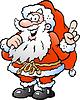Ein Happy Santa Pointing Hand gezeichnet