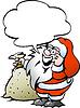 Hand gezeichnet ein Happy Santa mit Sack