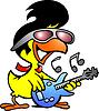 Hand gezeichnete eine intelligente Huhn spielt auf der Gitarre