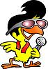 Hand gezeichnet AN Smart Huhn singen