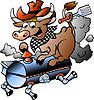 Hand gezeichnete eine Kuh reitet BBQ barrel