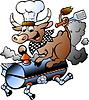 Hand gezeichnet ein Chef Cow Reiten BBQ barrel