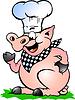Hand gezeichnet ein Chef Pig stehen und zeigte
