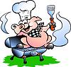 Hand gezeichnet ein Chef Pig standing on BBQ barrel