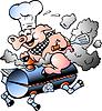 Hand gezeichnet ein Chef Pig Reiten ein BBQ barrel
