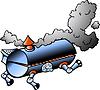 Eine laufende BBQ barrel Hand gezeichnet