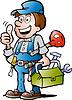 Eine glückliche Plumber Handyman Hand gezeichnet, die Daumen