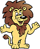 Eine glückliche Proud Lion King von Hand gezeichnet, es