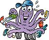 Счастливый осьминог мастер-ремонтник | Векторный клипарт