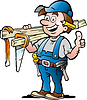 Hand gezeichnet ein Happy Carpenter Handyman