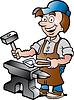 ID 3576688 | Hand gezeichnet und glückliche Blacksmith Worker | Stock Vektorgrafik | CLIPARTO