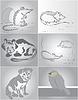 Vektor Cliparts: vier Haustiere