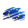 Flagge der Europäischen Union in Form Spuren Pinsel