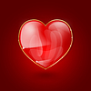 glänzende Herzen auf rotem Hintergrund