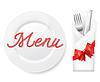 Menü mit Teller, Gabel und Messer im Umschlag