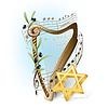 Harfe mit Noten, Oliven und Davidstern
