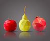 Apfel, Birne und Granatapfel in poligonale Design