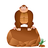 Cartoon Gorilla sitzt auf Stein. Hintergrund