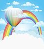Heißluftballon und Regenbogen in den Wolken Hintergrund