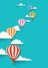Heißluftballons in Wolken Hintergrund. Wohnung