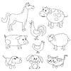 Nette Karikatur Nutztiere und Vögel zum Färben