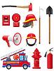 Set von Icons der Feuerlöschgeräten