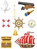 Set von alten Meer-Icons
